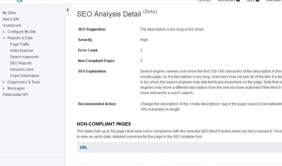 Bing SEO Analysis