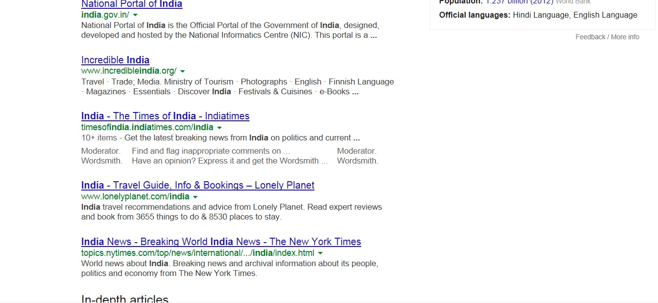 Search results for India in Google